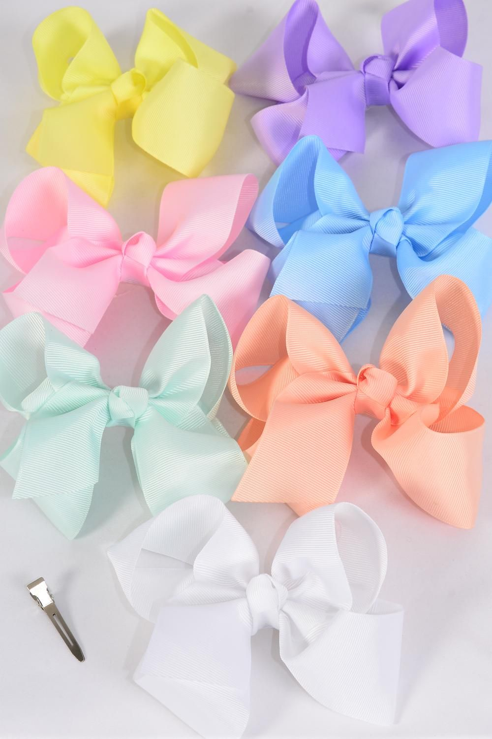 "Hair Bow Jumbo Pastel 6""x 5"" Alligator Clip Grosgrain Bow-tie/DZ **Pastel** Size-6""x 5"",Alligator Clip,2 White,2 Baby Pink,2 Lavender,2 Blue,2 Yellow,1 Peach,1 Mint Green,7 Color Asst,Clear Strip & UPC Code"