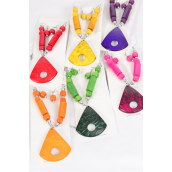"Necklace Sets Coconut Shell Deco Design/DZ **Multi* 20"" Long,2 of each Color Asst,Display Card & OPP bag &UPC Code"