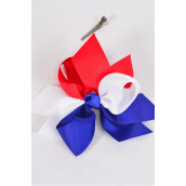 "Hair Bow Extra Jumbo Triton Patriotic-Flag Grosgrain Bowtie/DZ **Alligator Clip** Bow-6""x 6"",Clear Strip & UPC Code"