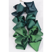 "Hair Bow Jumbo Winemill Cheer Bow Type Double Layer Hunter Green Mix/DZ **Hunter Green Mix** Alligator Clip,Size-7""x 7"" Wide,4of each Color Asst,Clip Strip & UPC Code"