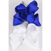 "Hair Bow Jumbo Winemill Cheer Bow Type Double Layer Royal Blue & White Mix/DZ **Royal Blue & White Mix** Alligator Clip,Size-7""x 7"" Wide,6 Royal Blue & 6 White Asst,Clip Strip & UPC Code"