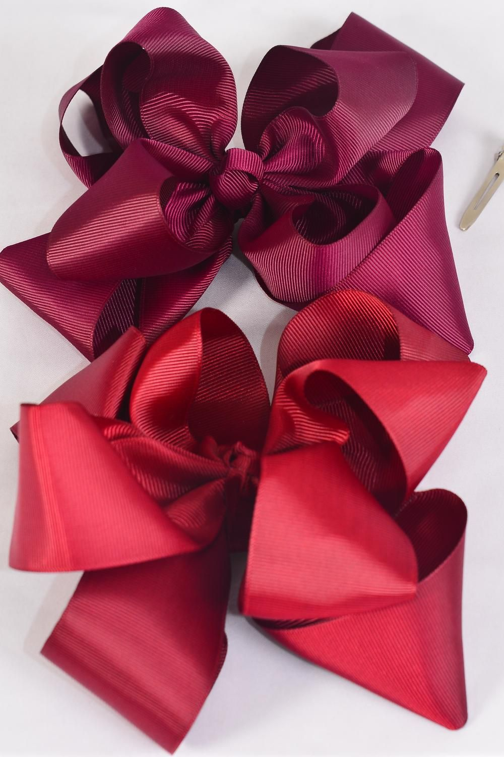 "Hair Bow Jumbo Winemill Cheer Bow Type Double Layer Burgundy Mix/DZ **Burgundy Mix** Alligator Clip,Size-7""x 7"" Wide,6 of each Color Asst,Clip Strip & UPC Code"