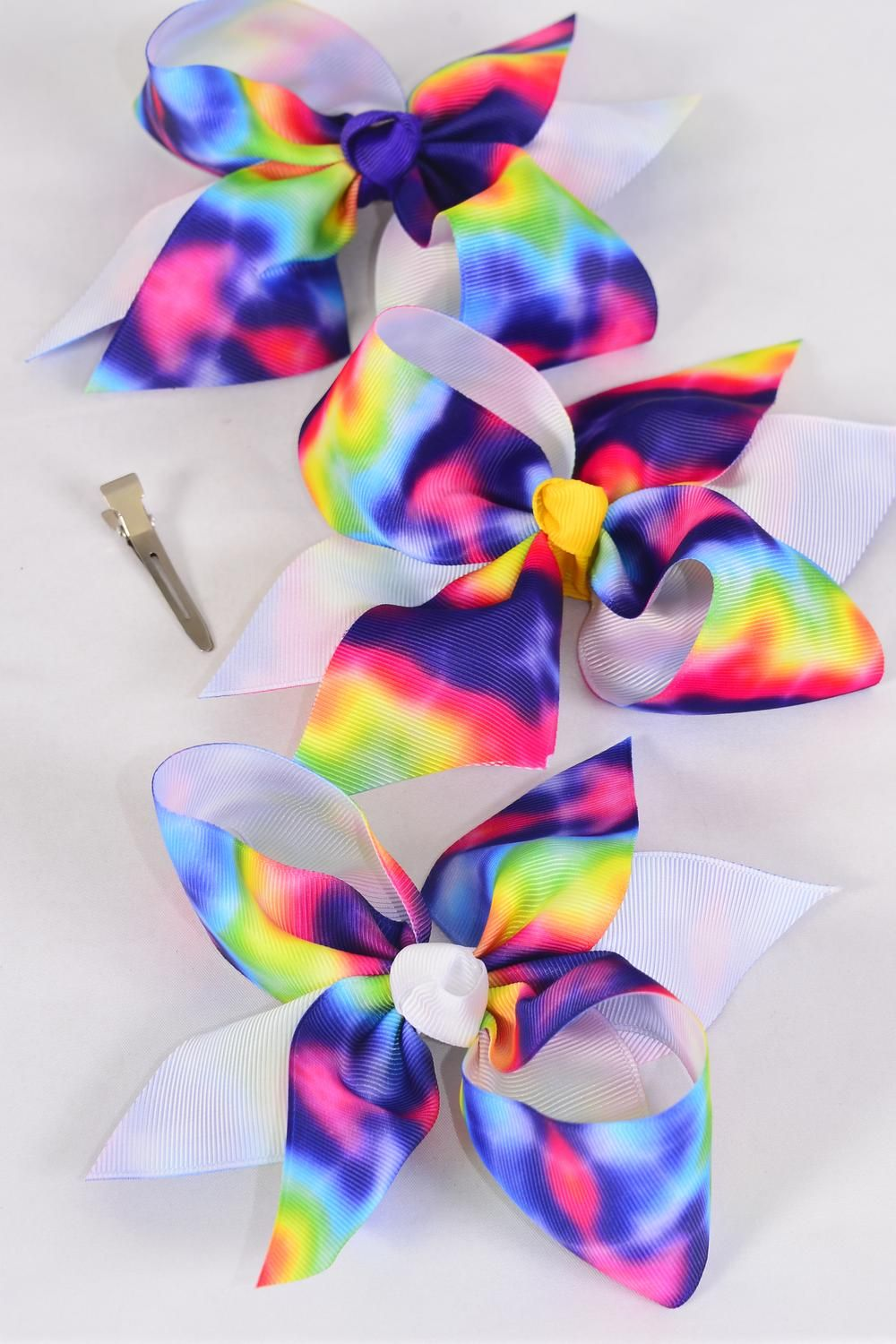 "Hair Bow Jumbo Tiedye Grosgrain Bow-tie/DZ **Alligator Clip** Size-6""x 6"" Wide,2 Fuchsia,2 Blue,2 Yellow,2 Purple,2 White,1 Lime,1 Orange,7 color mix,W Clip Strip & UPC Code"