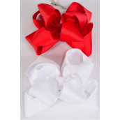 "Hair Bow Jumbo Winemill Cheer Bow Type Double Layer Red & White Mix/DZ **Red & White Mix** Alligator Clip,Size-7""x 7"" Wide,6 Red & 6 White Asst,Clip Strip & UPC Code"