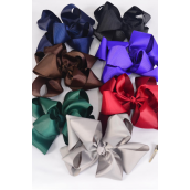 "Hair Bow Jumbo Windmill Cheer Bow Type Double Layer Dark Multi Grosgrain Bow/DZ **Dark Multi** AlligatoClip,Size-7""x 7"" Wide,2 Black,2 Navy,2 Burg,2 Purple,2 Brown,1 Gray,1 Hunter Green,7 Color Asst,Clip Strip & UPC Code"