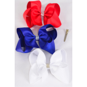 "Hair Bow Jumbo Center Clear Stones Patriotic Grosgrain Bowtie/DZ ** Alligator Clip** Bow-6""x 5"",4 White,4 Red,4 Blue,3 Color Mix,Clear Strip & UPC Code"