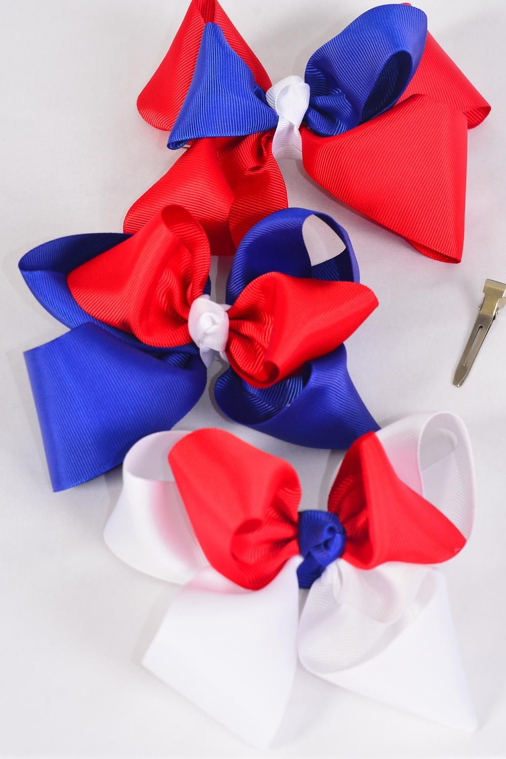 "Hair Bow Extra Jumbo Double Layer Grosgrain Bowtie Triton Red White Blue Mix/DZ **Alligator Clip** Bow-6""x 6"" Wide,4 of each Color Asst,Clip Strip & UPC Code"