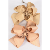 "Hair Bow Jumbo Winemill Cheer Bow Type Double Layer Khaki Mix/DZ **Khaki Mix** Alligator Clip,Size-7""x 7"" Wide,6 of each Color Asst,Clip Strip & UPC Code"