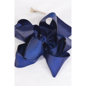 "Hair Bow Jumbo Winemill Cheer Bow Type Double Layer Navy/DZ **Navy** Alligator Clip,Size-7""x 7"" Wide,Clip Strip & UPC Code"