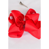 "Hair Bow Jumbo Winemill Cheer Bow Type Double Layer Red/DZ **Red** Alligator Clip,Size-7""x 7"" Wide,Clip Strip & UPC Code"