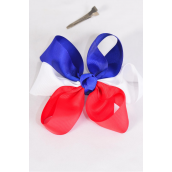 "Hair Bow Extra Jumbo Triton Patriotic-Flag Grosgrain Bowtie/DZ ** Alligator Clip** Bow-6""x 6"",Clear Strip & UPC Code"