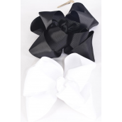 "Hair Bow Jumbo Winemill Cheer Bow Type Double Layer Black & White Mix/DZ **Black & White Mix** Alligator Clip,Size-7""x 7"" Wide,6 Black & 6 White Asst,Clip Strip & UPC Code"