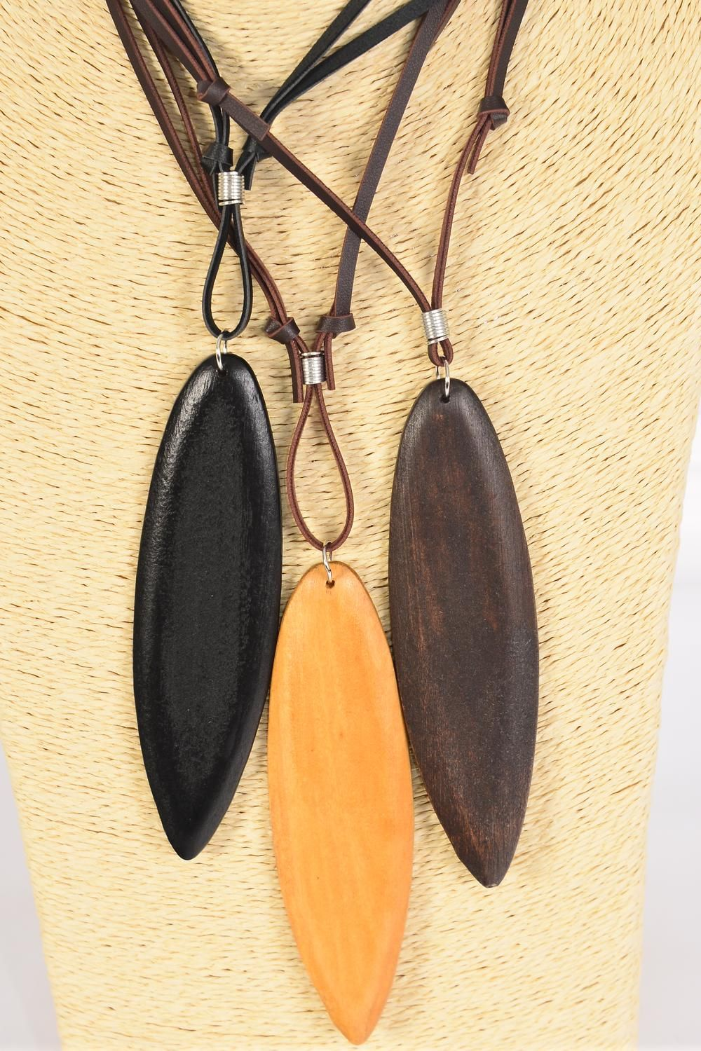 "Men's Leather Necklace Wood Pendant/DZ **Adjustable** Feather Size-5""x 1.5"" Wide,4 of each Color Asst,Hang Tag & OPP Bag & UPC Code -"