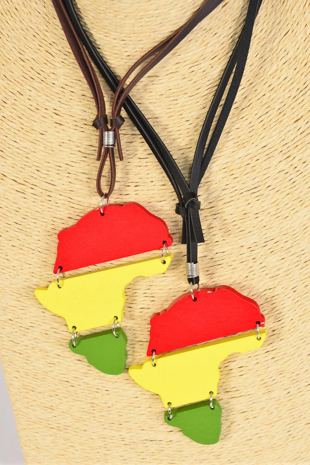 "Men's Leather Necklace Wood Africa Continent/DZ match 03029 **Adjustable** Pendant Size-3""x 2.75"" Wide,4 of each Color Asst,Hang Tag & OPP Bag & UPC Code"