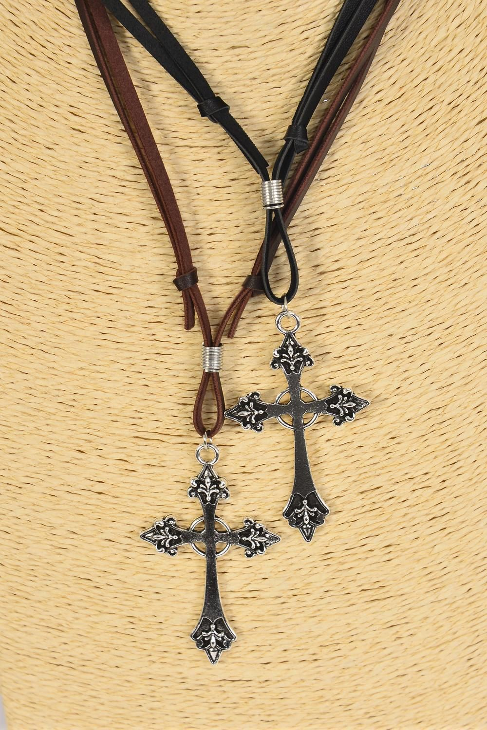 "Men's Leather Necklace Cross Metal/DZ **Adjustable** Cross-2.5""x 1.5"" Wide,6 Black & 6 Brown Leather Mix,Hang Tag & OPP Bag & UPC Code -"