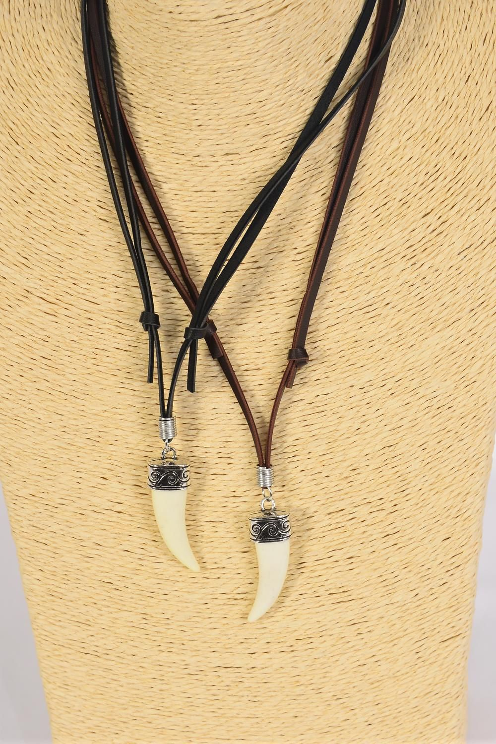 Men's Leather Necklace Tusk/DZ **Adjustable** 6 Black & 6 Brown Leather Mix,Hang Tag & OPP Bag & UPC Code -