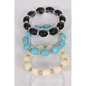 Bracelet 12 mm Semiprecious Stone Oval & Rhinestone Bezel Stretch/DZ **Stretch** 4 Black,4 Ivory,4 Turquoise,3 Color Asst,Hang Tag & Opp Bag & UPC Code