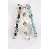 Bracelet Aztec Stretch 4 mm Semiprecious Stone Circle Charm/DZ **Stretch** 4 Black,4 Ivory,4 Turquoise Asst,Hang Tag & OPP Bag & UPC Code