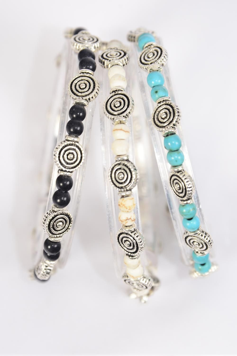 Bracelet Aztec Swirl Stretch 4 mm Real Semiprecious Stone/DZ **Stretch** 4 Black,4 Ivory,4 Turquoise Asst,Hang Tag & OPP Bag & UPC Code