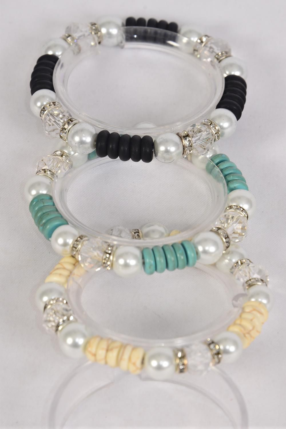 Bracelet 10 mm Glass Pearl & Semiprecious Stone Mix Stretch/DZ **Stretch** 4 Black,4 Ivory,4 Turquoise,3 Color Asst,Hang Tag & Opp Bag & UPC Code -