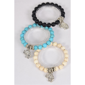 Bracelet 10 mm Semiprecious Stone Stretch Elephant Charm /DZ **Stretch** 4 Black,4 Ivory,4 Turquoise Asst,Hang Tag & OPP Bag & UPC Code
