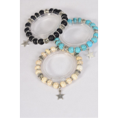 Bracelet 10 mm Semiprecious Stone Star Charm Stretch/DZ **Stretch** 4 Black,4 Ivory,4 Turquoise Asst,Hang Tag & OPP Bag & UPC Code