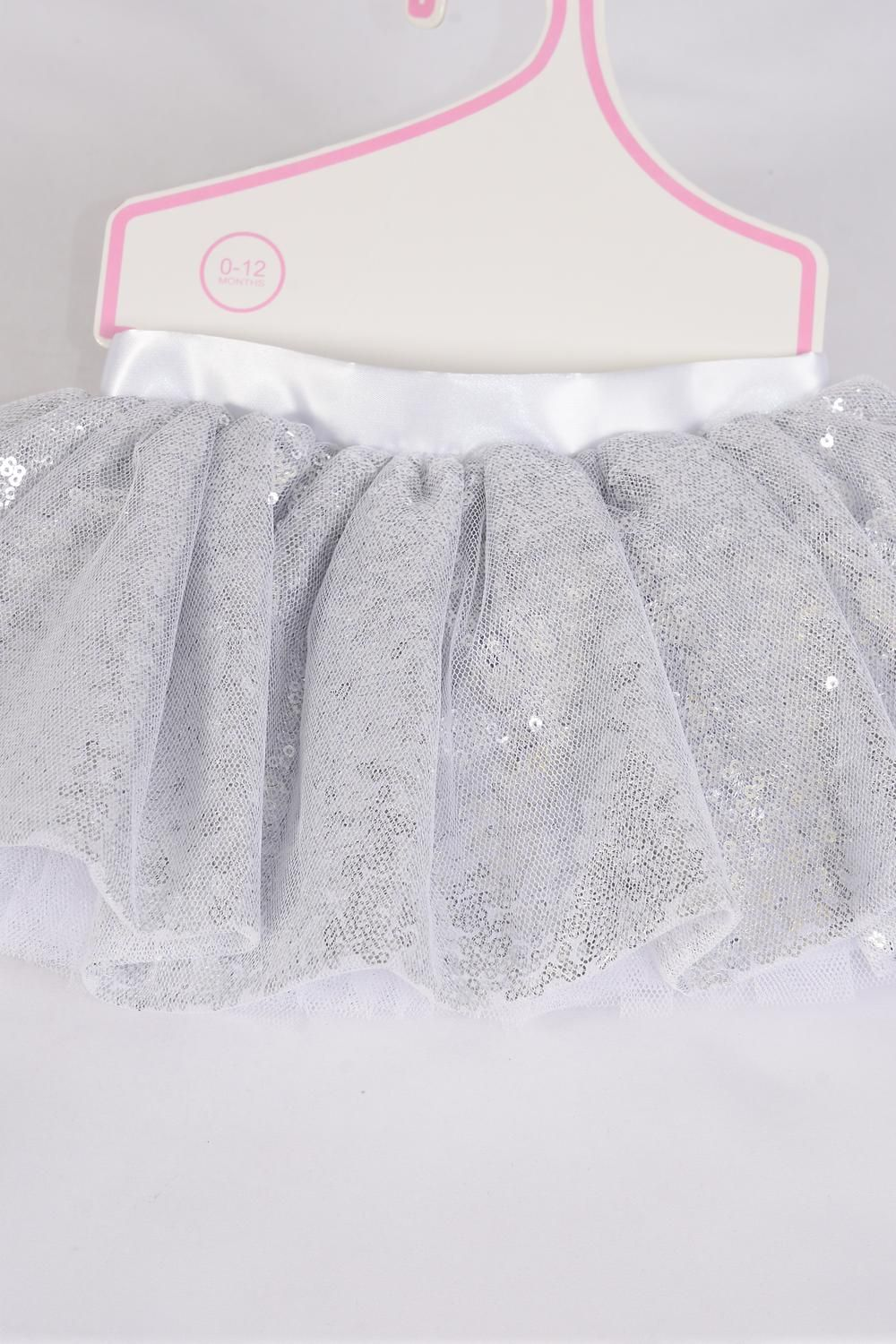 Tutu Dress Iridescent Sequin Silver/PC **Silver** Size-0-12 month,Display Card & UPC Code