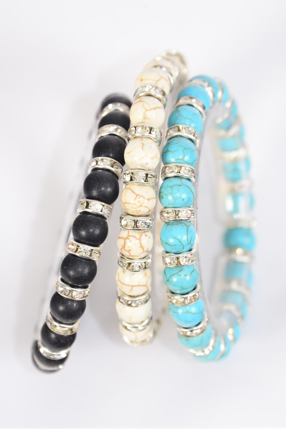 Bracelet 8 mm Semiprecious Stone & Rhinestone Bessel Stretch/DZ **Stretch** 4 Black,4 Ivory,4 Turquoise,3 Color Asst,Hang Tag & Opp Bag & UPC Code -