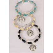Bracelet Semiprecious Stone Tree of Life Charm Stretch/DZ **Stretch**  Black,4 Ivory,4 Turquoise,3 Color Asst,Hang Tag & Opp Bag & UPC Code