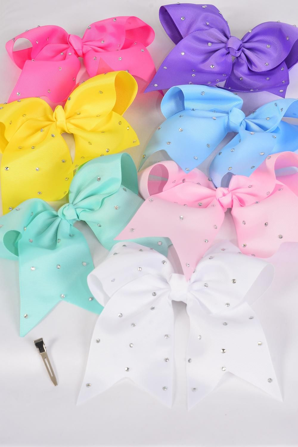 "Hair Bow Extra Jumbo Long Tail Clear Stones Cheer Bow Type Grosgrain Bow-tie Pastel/DZ **Pastel** Alligator Clip,Size-7""x 6"" Wide,2 White,2 Yellow,2 Blue,2 Hot Pink,2 Lavender,1 Pink,1 Green 7 Color Asst,Clip Strip & UPC Code"