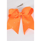 "Hair Bow Extra Jumbo Long Tail Clear Stones Cheer Bow Type  Grosgrain Bow-tie Orange/DZ **Orange** Size-7""x 6"" Wide,Alligator Clip,Clip Strip & UPC Code"