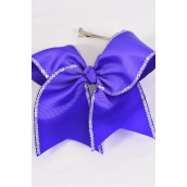 "Hair Bow Extra Jumbo Long Tail Sequin Cheer Bow Type Grosgrain Bow-tie Purple/DZ **Purple** Alligator Clip,Size-7""x 6"" Wide,Clip Strip & UPC Code"