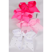 "Hair Bow Extra Jumbo Long Tail Clear Stones Cheer Bow Type Grosgrain Bow-tie Pink Mix/DZ **Pink Mix** Size-7""x 6"" Wide,3 Baby Pink,3 Hot Pink,3 Fuchsia,3 White Mix, Clip Strip & UPC Code"