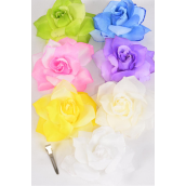 "Silk Flower 2 Tone Rose Glitter Trime Pastel/DZ **Pastel** Size-4"" Wide,Alligator Clip & Brooch,2 of each Color Asst,Display Card & UPC Code,Clear Box"