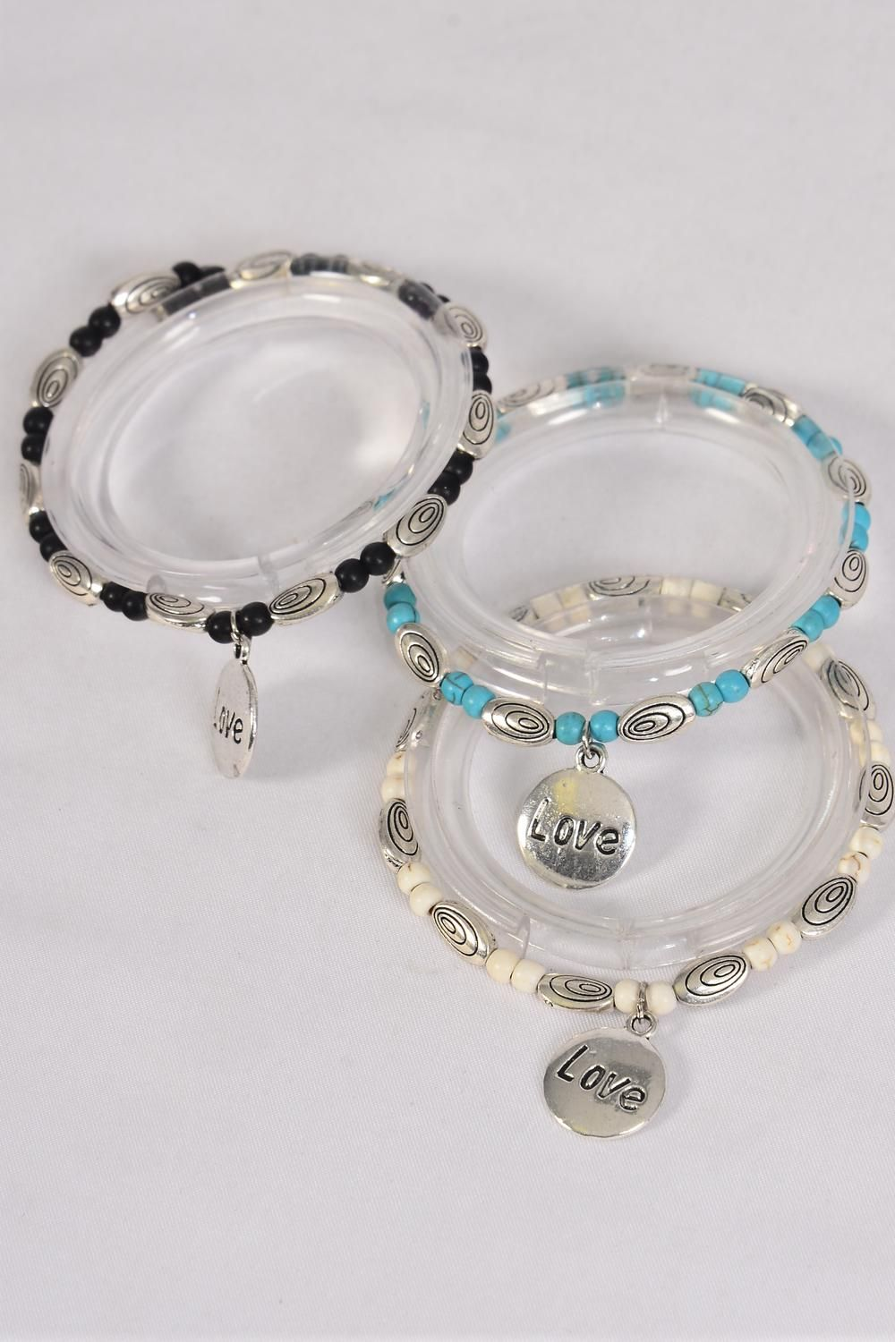 Bracelet Semiprecious Stone Love Charm Stretchy/DZ **Stretch**  Black,4 Ivory,4 Turquoise,3 Color Asst,Hang Tag & Opp Bag & UPC Code