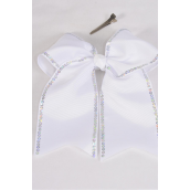 "Hair Bow Extra Jumbo Long Tail Sequin Cheer Bow Type Grosgrain Bow-tie White/DZ **White** Alligator Clip,Size-7""x 6"" Wide,Clear Strip & UPC Code"