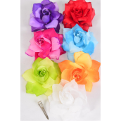 "Silk Flower 2 tone Rose Glitter Trime Multi/DZ **Multi** Size-4"" Wide,Alligator Clip & Brooch,2 Fuchsia,2 Blue,2 Yellow,2 White,1 Red,1 Purple,1 Orange,1 Lime,8 Color Asst"