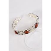 Bangle Cuff Flexible Acrylic Brown Stones/PC **Brown** Flexible,Good Quality,Display Card & OPP Bag