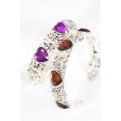 Bangle Cuff Acrylic Heart Stones Flexible/PC Flexible,Display Card & OPP Bag,Choose Colors