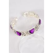 Bangle Cuff Acrylic Purple Heart Stones Flexible/PC **Purple** Flexible,Display Card & OPP Bag