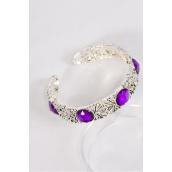 Bangle Cuff Flexible Purple Acrylic Stones/PC **Purple** Flexible,Good Quality,Display Card & OPP Bag