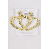 "Earrings Metal Heart Clip On/DZ **Clip On** Size 2.25""x 2"",Choose Gold Or Silver Finish,Earring Card & Opp Bag & UPC Code"
