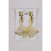 "Earrings Metal Gold Filigree Square Dangle Clip On/DZ **Clip On** Size-1.5""x 3"",Earring Card & Opp Bag & UPC Code"
