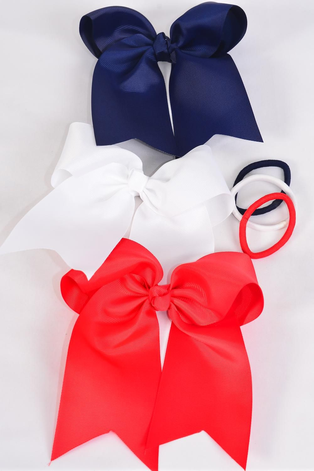 "Hair Bow Jumbo Long Tail Cheer Type Bow Elastic Cheer Type Bow Grosgrain Bow-tie Red White Navy Mix/DZ **Red White Navy Mix** Elastic,Size-6.5""x 6"" Wide,4 Red,4 White,4 Navy Color Asst,Clip Strip & UPC Code"