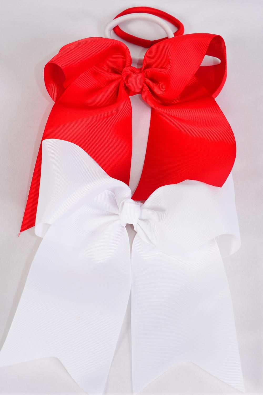 "Hair Bow Extra Jumbo Long Tail Cheer Type Bow Elastic Red & White Mix Grosgrain Bow-tie/DZ **Red & White** Elastic,Size-6.5""x 6"",6 of each Color Asst,Clip Strip & UPC Code"