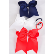 "Hair Bow Jumbo Long Tail Elastic Cheer Type Bow Grosgrain Bow-tie Red White Navy Mix/DZ **Red White Navy Mix** Elastic,Size-6.5""x 6"" Wide,4 of each Color Asst,Clip Strip & UPC Code"