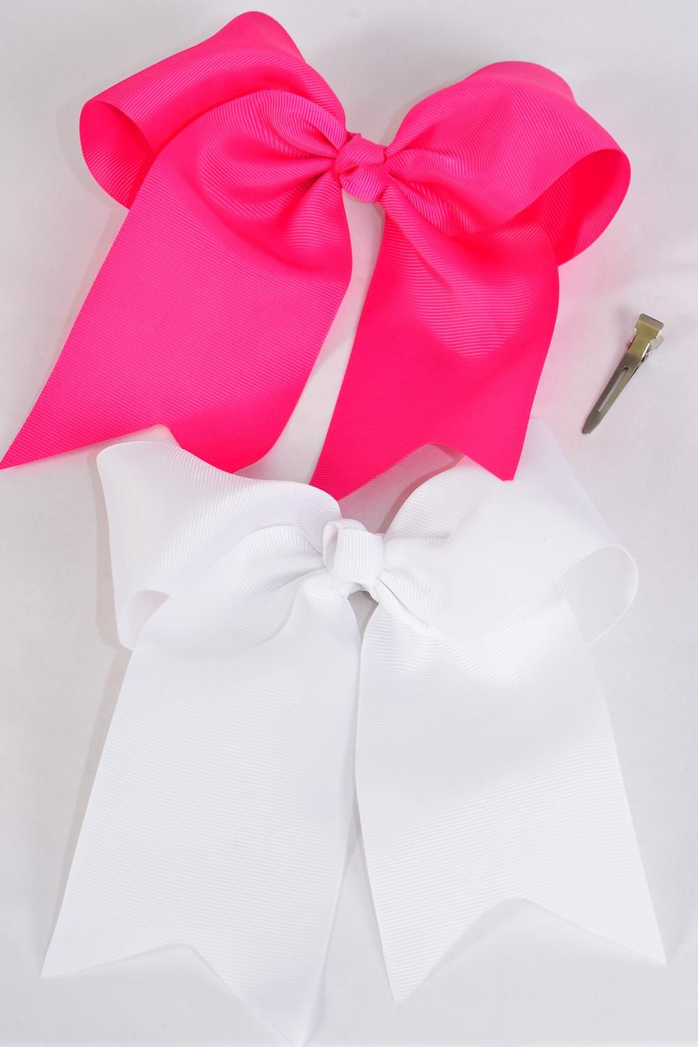 "Hair Bow Extra Jumbo Long Tail Fuchsia & White Mix Cheer Type Bow Grosgrain Bow-tie/DZ **Fuchsia & White Mix** Alligator Clip,Size-6.5""x 6"",6 of each Colotr Asst,Clip Strip & UPC Code"