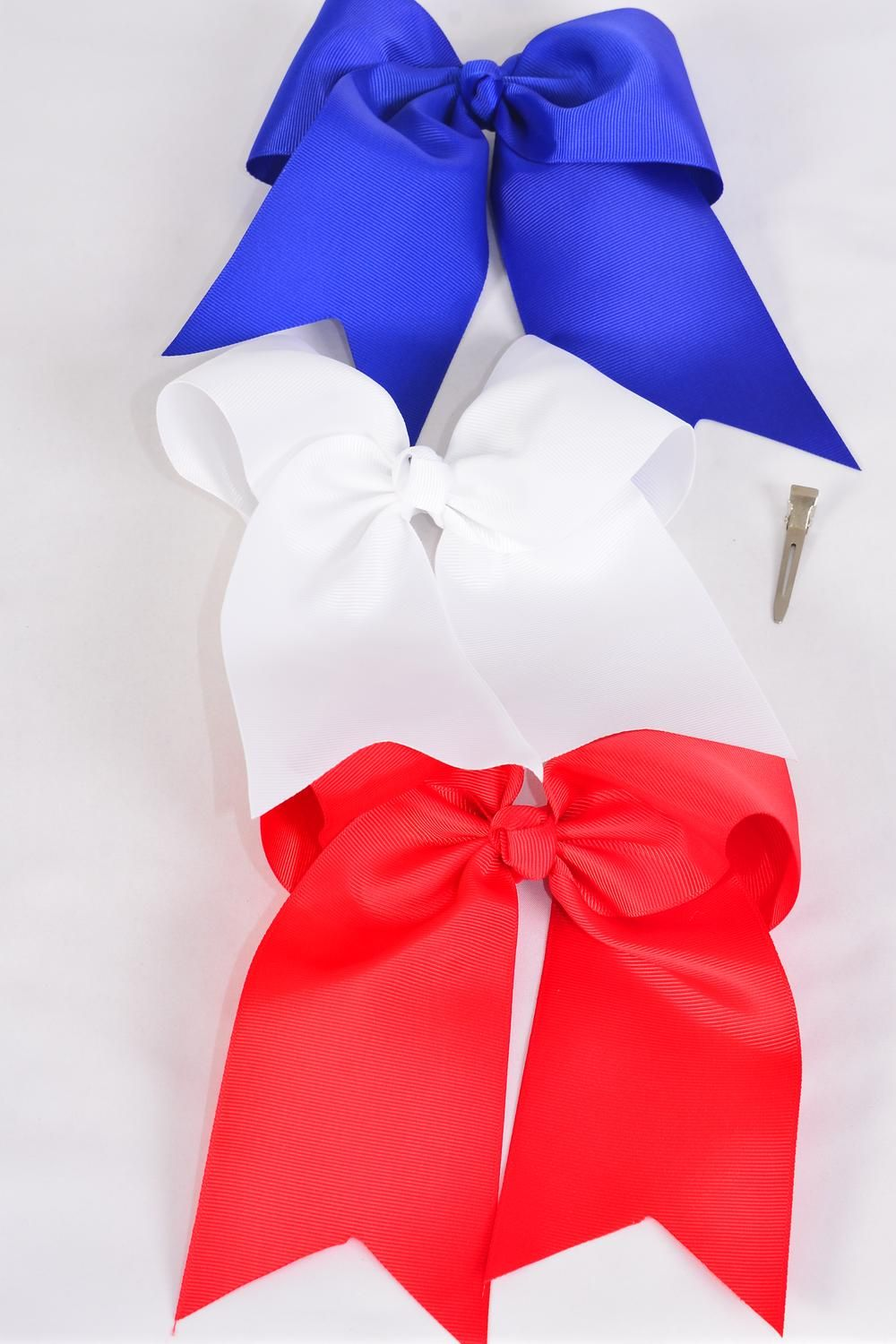 "Hair Bow Extra Jumbo Long Tail Cheer Type Bow Grosgrain Bow-tie Red White Blue Mix/DZ **Red & White & Blue Mix** Alligator Clip,Size-6.5""x 6"" Wide,4 of each Color Asst,Clip Strip & UPC Code"