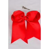 """Hair Bow Extra Jumbo Long Tail Cheer Type Bow Red Alligator Clip Grosgrain Bow-tie/DZ **Red** Alligator Clip,Size-6.5""""x 6"""" Wide,Clip Strip & UPC Code"""