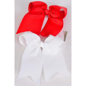 """Hair Bow Extra Jumbo Long Tail Cheer Type Bow Red & White Mix Grosgrain Bow-tie/DZ **Red & White** Alligator Clip,Size-6""""x 6.5"""" Wide,6 Red,6 White Asst,Clip Strip & UPC Code"""
